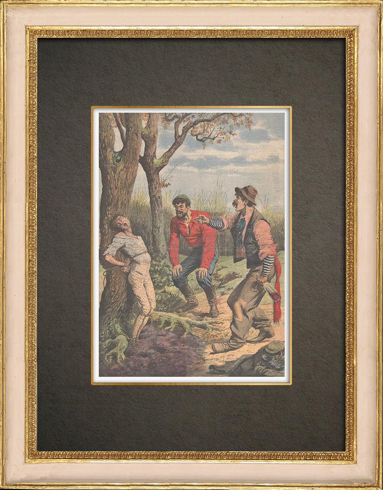 Stampe Antiche & Disegni   Due ubriaconi coprono un ragazzo col formice in Eymoutiers - Francia - 1909   Incisione xilografica   1909
