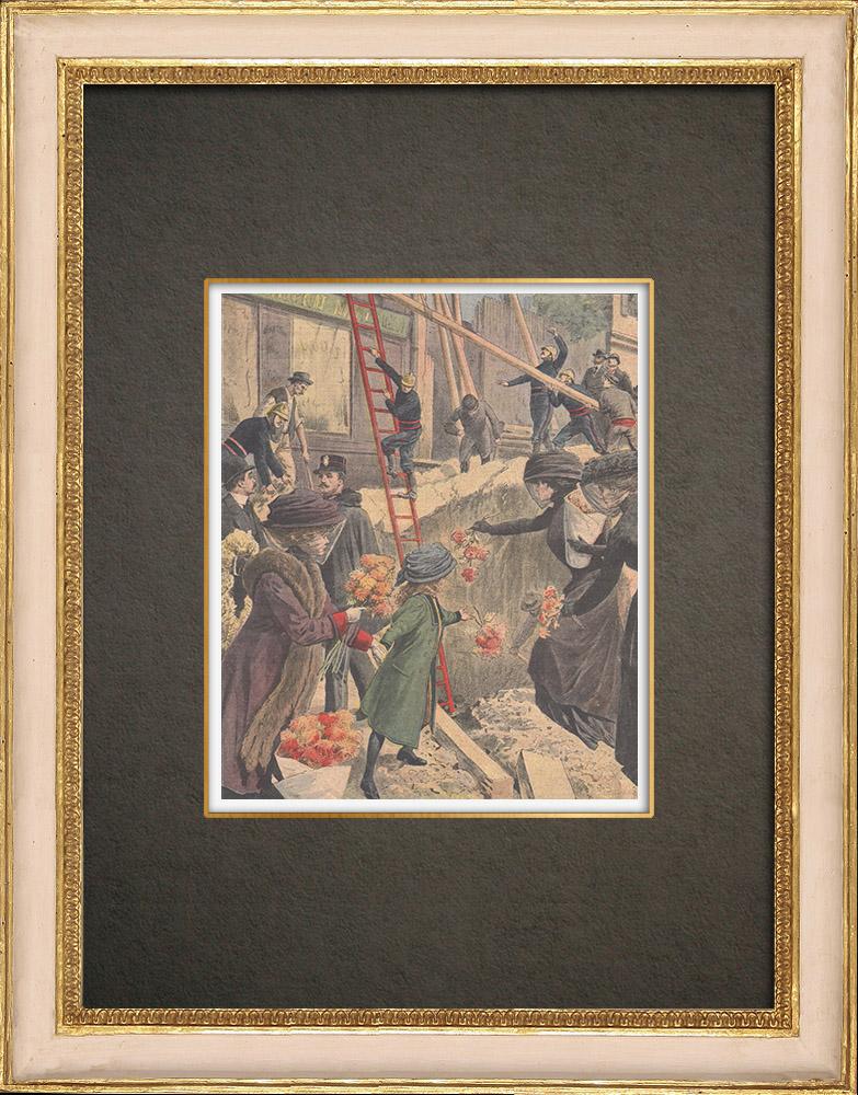 Stampe Antiche & Disegni | Una donna sepolta nel crollo della strada a Parigi - Francia - 1909 | Incisione xilografica | 1909