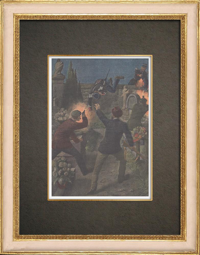 Stampe Antiche & Disegni   Errore nel cimitero di Pessac - Francia - 1909   Incisione xilografica   1909