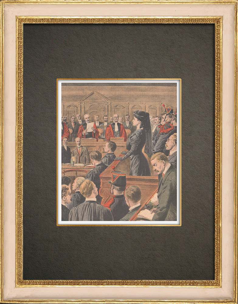 Gravures Anciennes & Dessins | Verdict du procès de Marguerite Steinheil au Palais de justice de Paris - France - 1909 | Gravure sur bois | 1909