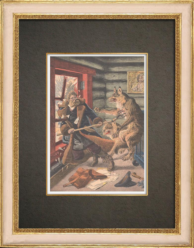 Stampe Antiche & Disegni | Un Ufficiale giudiziario rinchiuso con i lupi in Russia - 1909 | Incisione xilografica | 1909