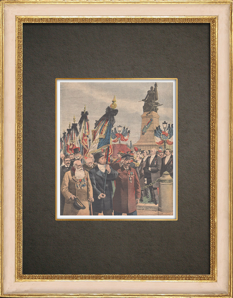 Antique Prints & Drawings | Veterans of the 1870 War in front of the Defense of Paris in Courbevoie - France - 1909 | Wood engraving | 1909