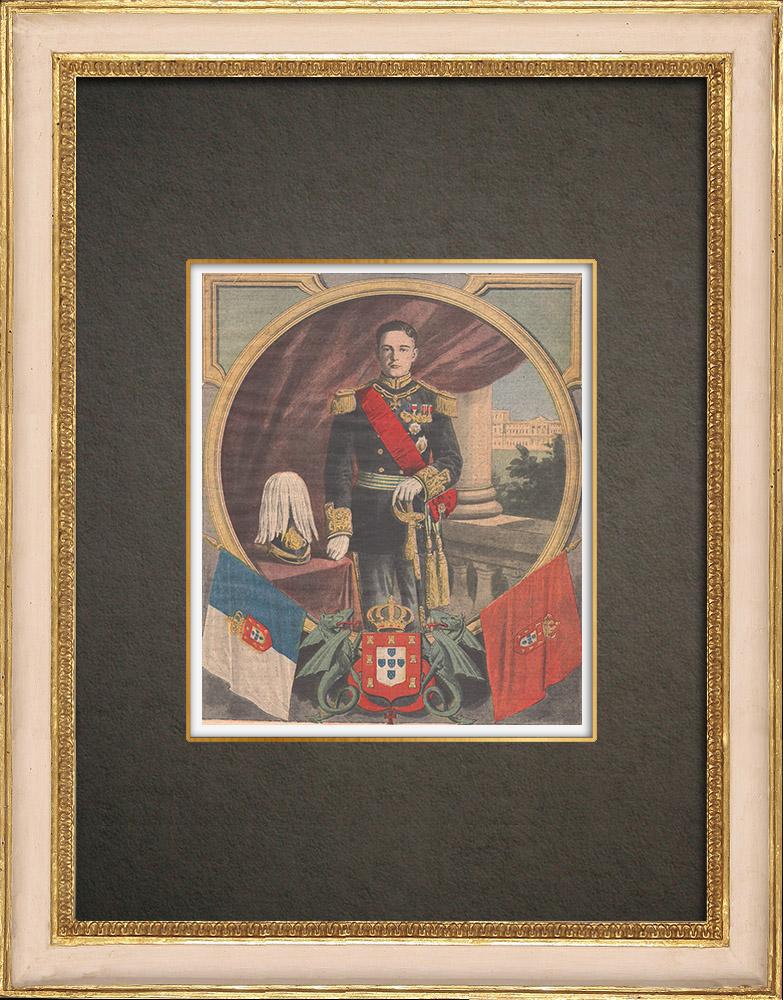 Antika Tryck & Ritningar | Porträtt av Manuel II Kung av Portugal (1889-1932) | Träsnitt | 1909