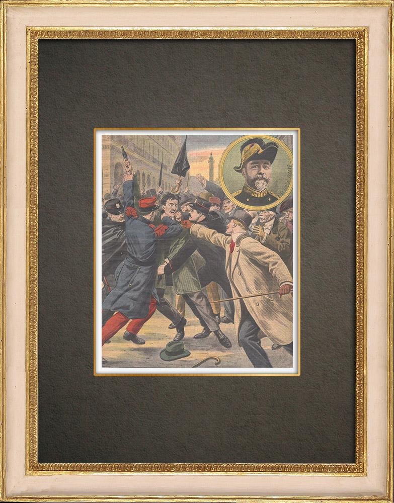 Antique Prints & Drawings   Arrest of general Verand's killer in Paris - France - 1909   Wood engraving   1909