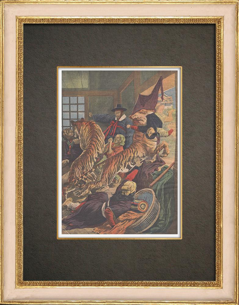 Stampe Antiche & Disegni | Colonizzazione della Corea da parte del Giappone - Le tigri terrorizzano - 1909 | Incisione xilografica | 1909