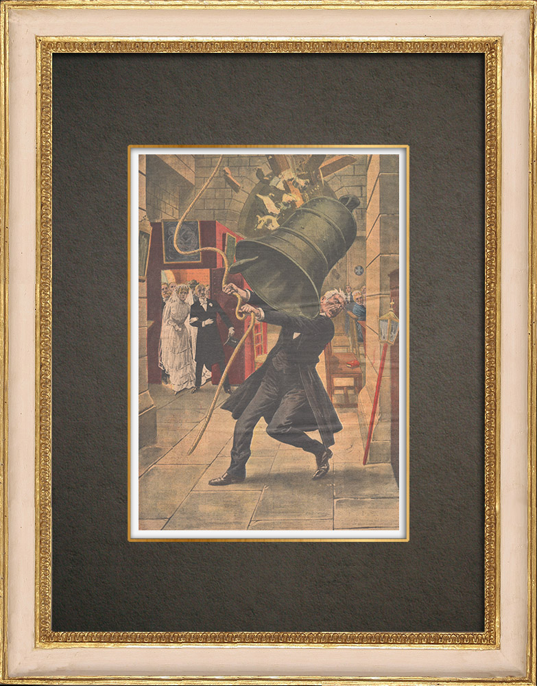 Antique Prints & Drawings   A man crushed by a bell in a church near Fribourg - Germany - 1909   Wood engraving   1909