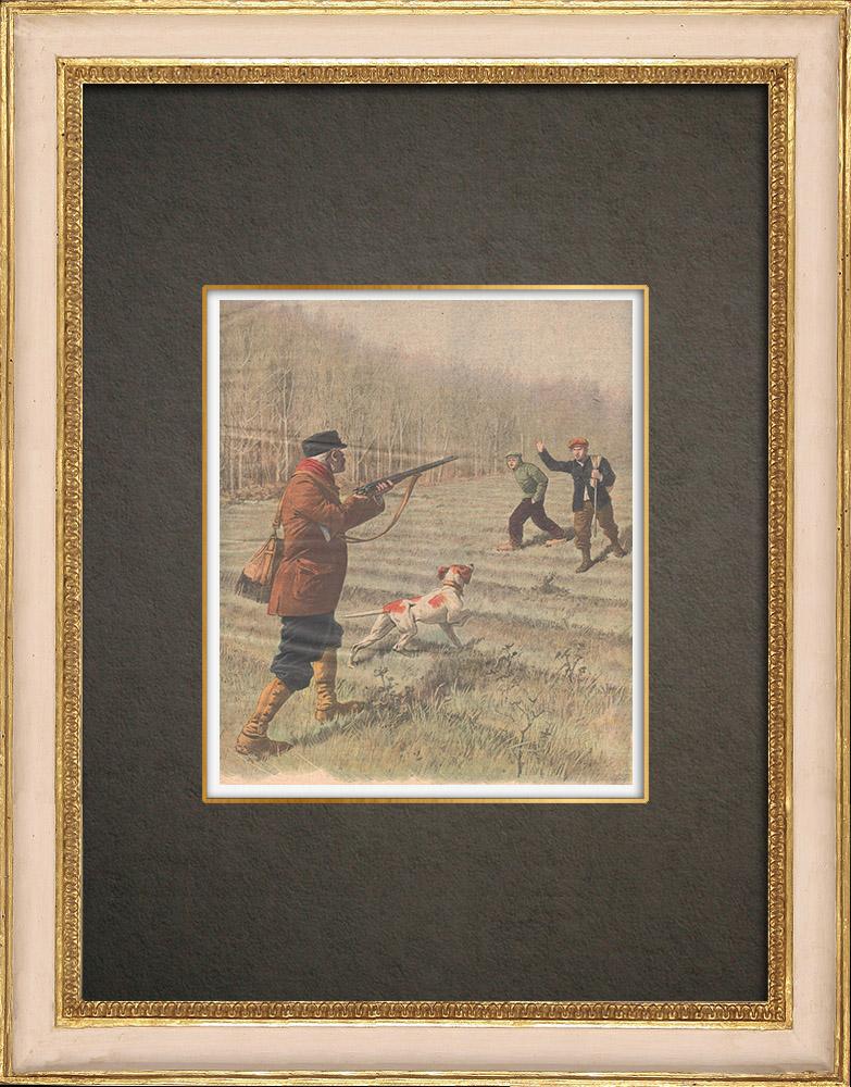 Grabados & Dibujos Antiguos | Arresto de jóvenes asesinos en Jully - Francia - 1909 | Grabado xilográfico | 1909