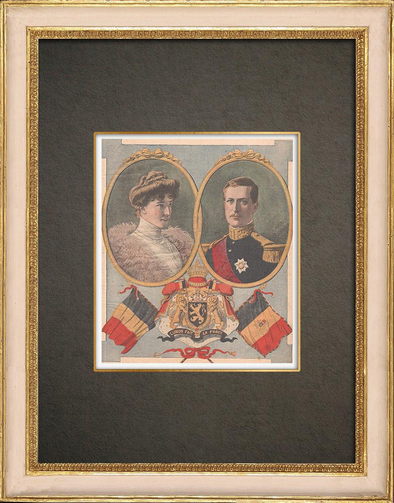 Stampe Antiche & Disegni | Ritratto di Alberto I re del Belgio e sua moglie Elisabetta di Baviera | Incisione xilografica | 1910