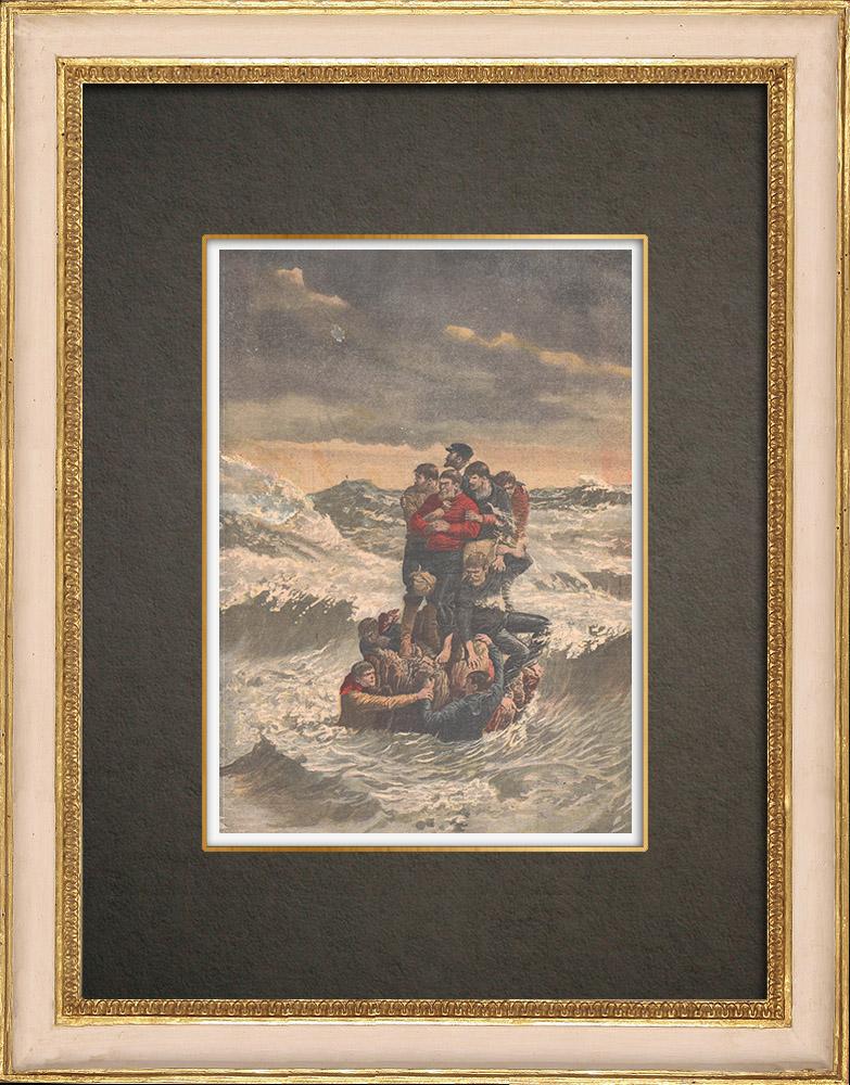 Stampe Antiche & Disegni | Naufragio al largo della Giamaica - 1910 | Incisione xilografica | 1910