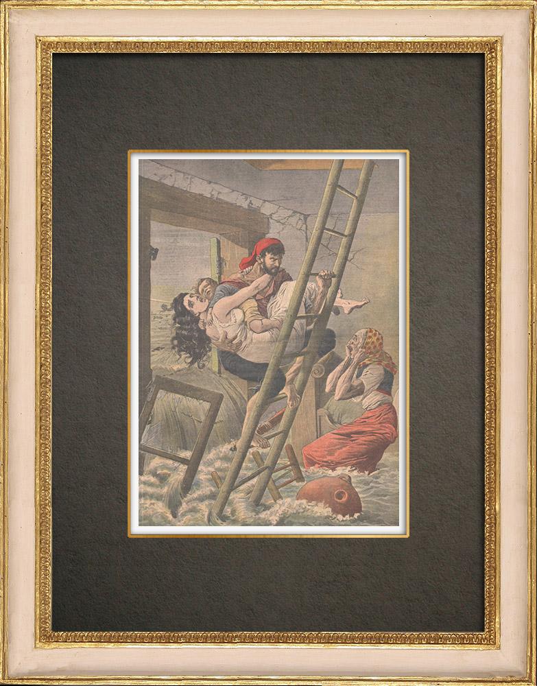 Antika Tryck & Ritningar | Översvämningar i Spanien - 1910 | Träsnitt | 1910