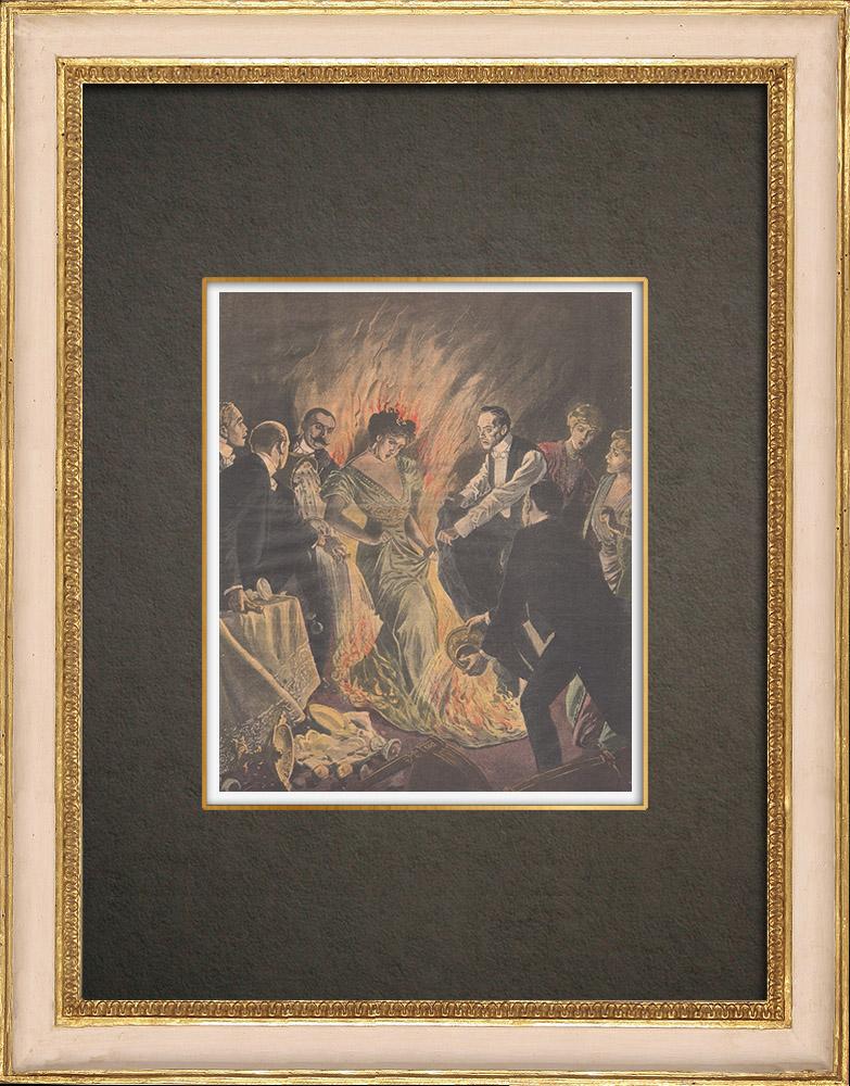 Stampe Antiche & Disegni | Incendio durante la notte di San Silvestro a New York - Stati Uniti d'America - 1910 | Incisione xilografica | 1910