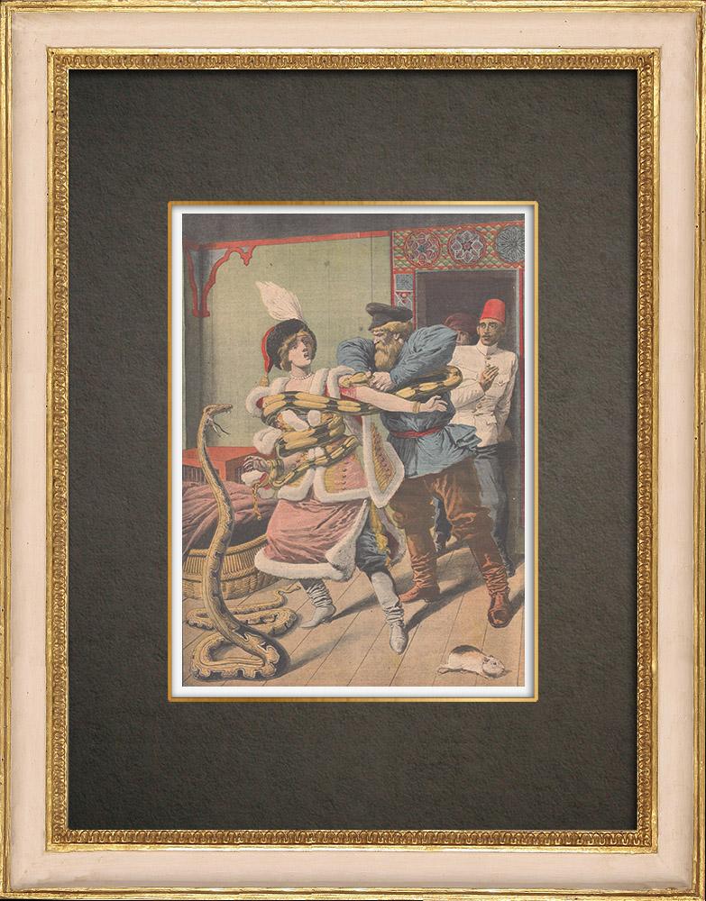 Antika Tryck & Ritningar | En Ormtjusning som attackerades av en boa i Alexandria - Egypten - 1910 | Träsnitt | 1910