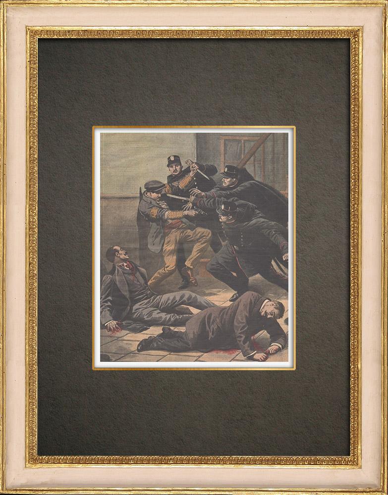 Stampe Antiche & Disegni | Agenti di Polizia ha attaccati a Parigi da un uomo rilasciato dal carcere - 1910 | Incisione xilografica | 1910