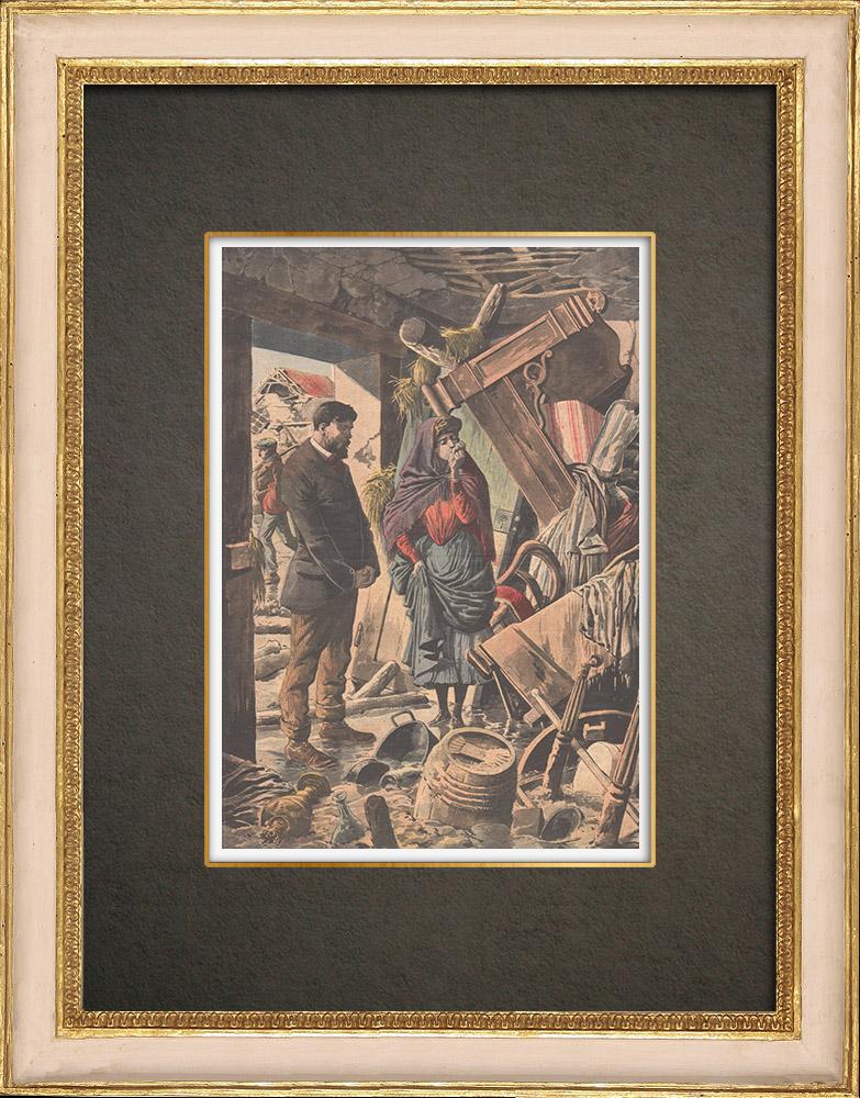 Antika Tryck & Ritningar | Skador till följd av översvämningarna i Paris - 1910 | Träsnitt | 1910
