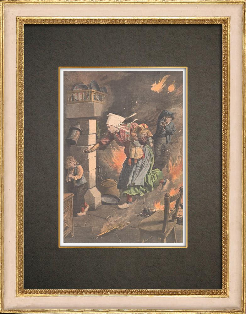 Stampe Antiche & Disegni | Una madre salva i suoi figli nel fuoco della sua casa a Tregennec - Francia - 1910 | Incisione xilografica | 1910