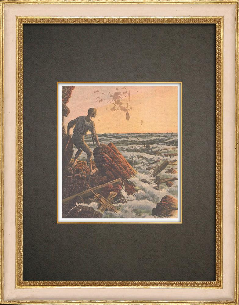 Antika Tryck & Ritningar | Skeppsbrott av angfartyg General Chanzy till Balearerna - Spanien - 1910 | Träsnitt | 1910