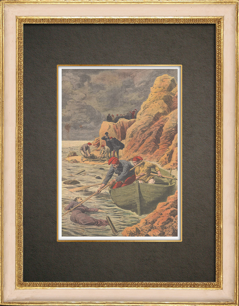 Antique Prints & Drawings | Shipwreck of General Chanzy - Corpses and wrecks - Spain - 1910 | Wood engraving | 1910