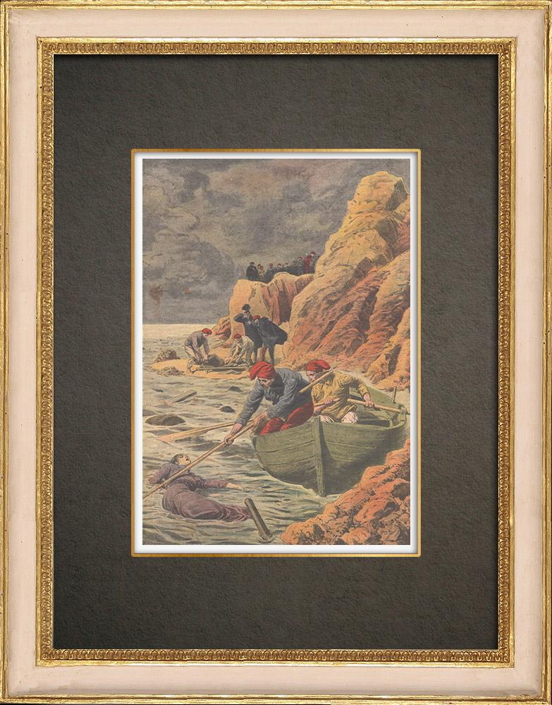 Stampe Antiche & Disegni | Naufragio del Transatlantico General Chanzy - Cadaveri e relitti - Spagna - 1910 | Incisione xilografica | 1910