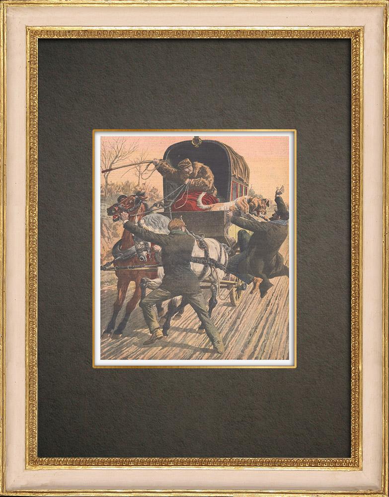 Antika Tryck & Ritningar | Postdiligens angrepp i Veilhac - Frankrike - 1910 | Träsnitt | 1910