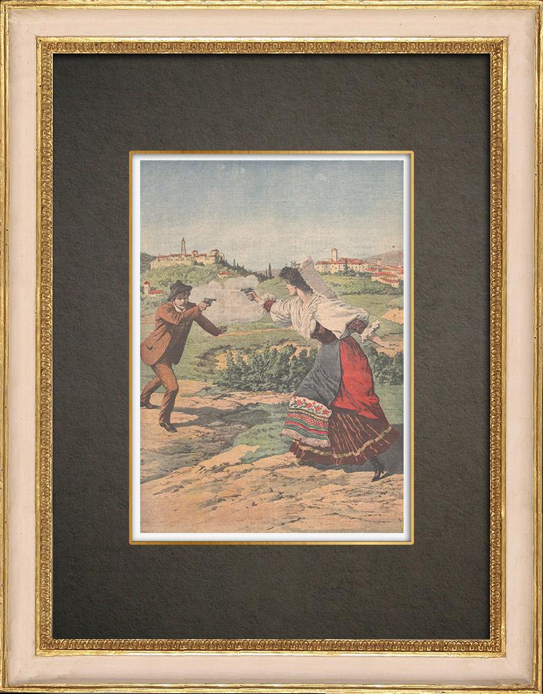 Stampe Antiche & Disegni | Futuri sposi combattono in duello a Taurasi - Italia - 1910 | Incisione xilografica | 1910