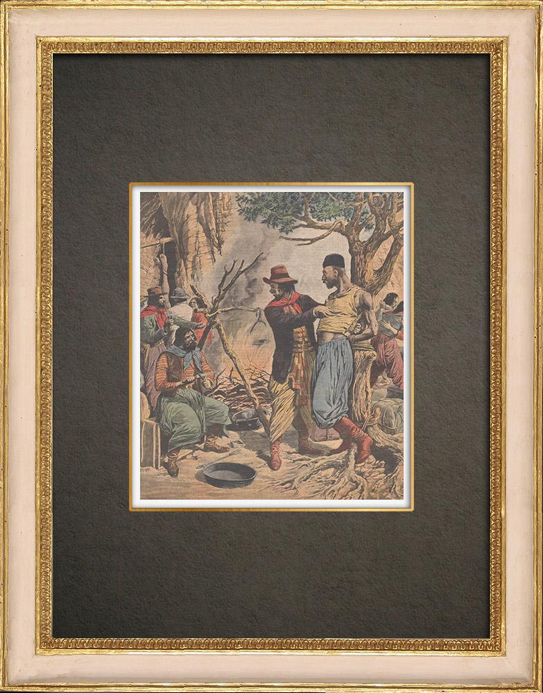 Stampe Antiche & Disegni | Antropofagi banditi cileni nel Río Negro - Cile - 1910 | Incisione xilografica | 1910