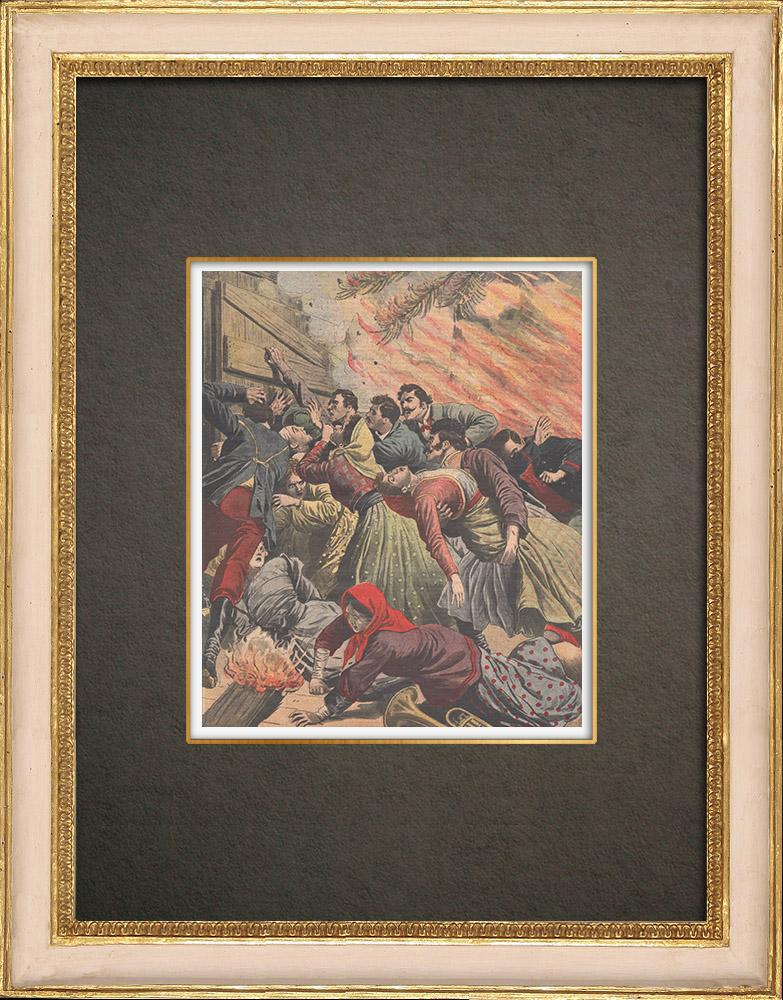 Stampe Antiche & Disegni | Il fuoco della sala da ballo a Oekoerito - Ungheria - 1910 | Incisione xilografica | 1910