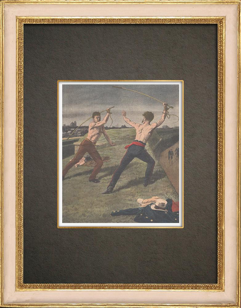 Stampe Antiche & Disegni | Duella tra due conduttori di fiacre - 1910 | Incisione xilografica | 1910