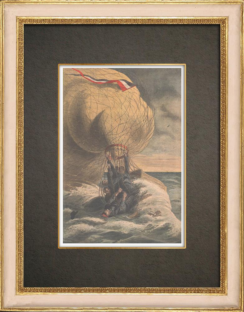 Antika Tryck & Ritningar | Den tyska Pommern-ballong faller i Östersjön - Tyskland - 1910 | Träsnitt | 1910