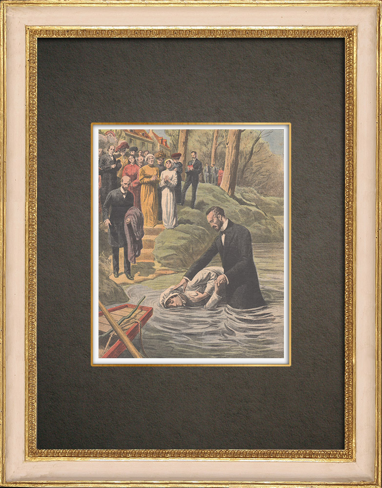 Antique Prints & Drawings | Adventist baptism in the Marne - France - 1910 | Wood engraving | 1910