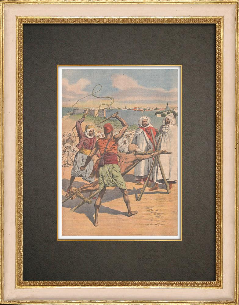 Stampe Antiche & Disegni | Crudeltà delle sultan Moulay Hafid a Mazagan - Marocco - 1910 | Incisione xilografica | 1910