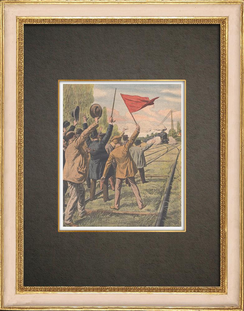 Antika Tryck & Ritningar | Demonstration på järnvägen i Villeneuve-le-Roi - Frankrike - 1910 | Träsnitt | 1910