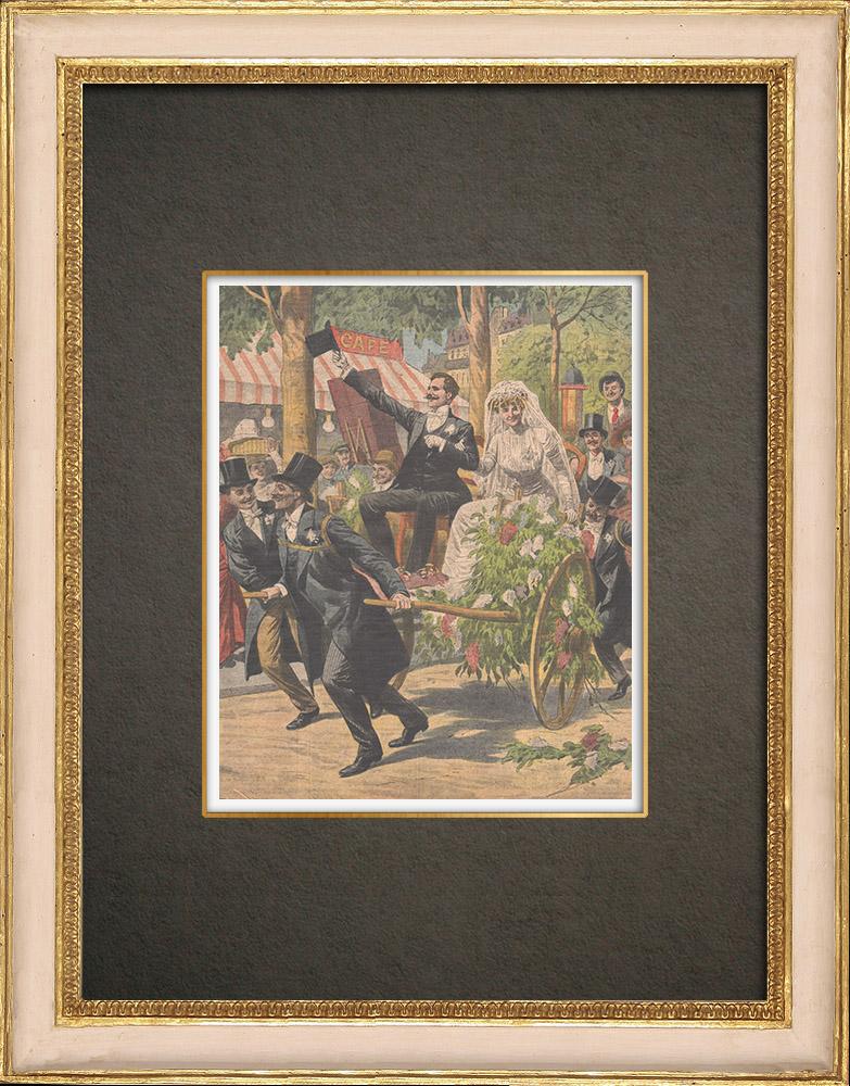 Antika Tryck & Ritningar | Fancy bröllop kortege i 12:a Arrondissementet Paris - Frankrike - 1910 | Träsnitt | 1910