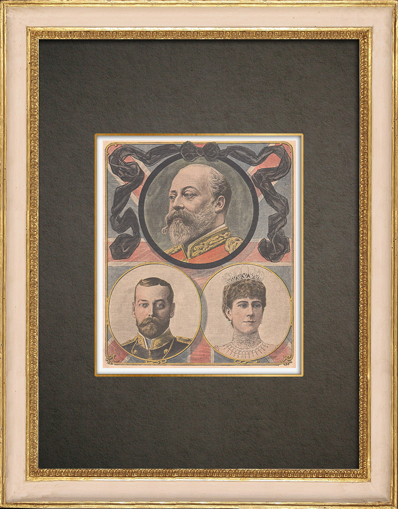 Antique Prints & Drawings   Portraits of Edward VII, George V and his wife - United Kingdom   Wood engraving   1910