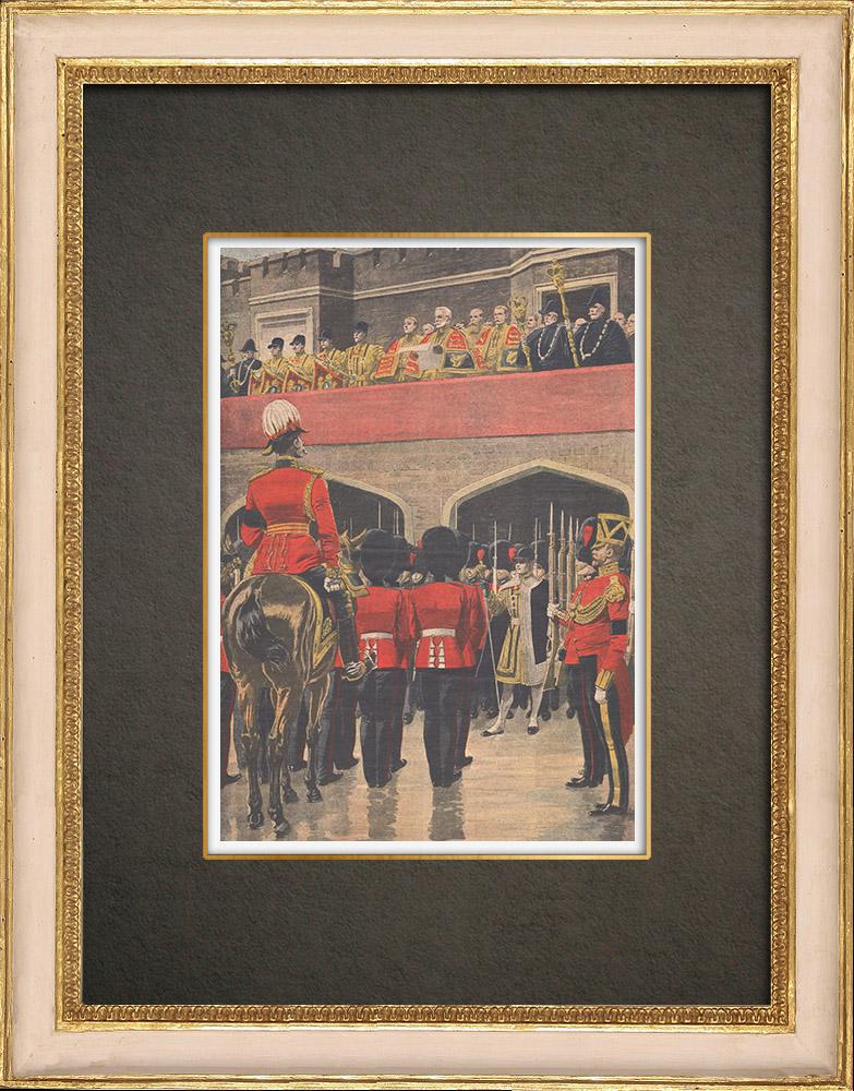 Stampe Antiche & Disegni | Proclamazione del re Giorgio V al Saint James Palace a Londra - Inghilterra - 1910 | Incisione xilografica | 1910