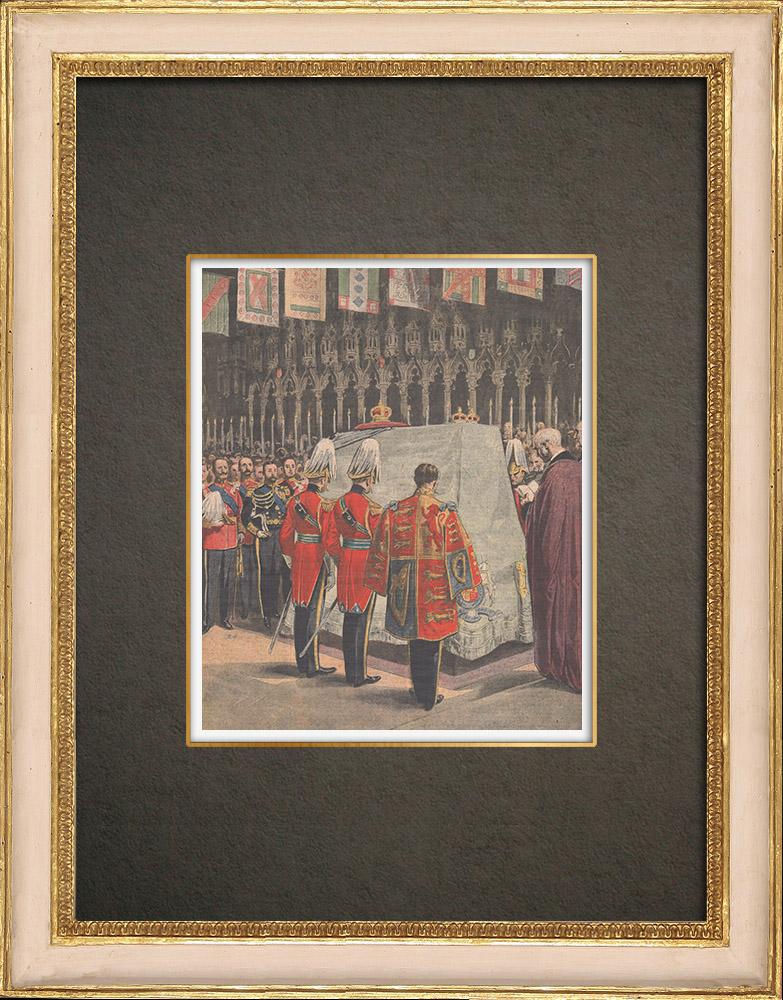 Antika Tryck & Ritningar | Kung Edward VIIs begravning i St. George's Chapel i Windsor - England - 1910 | Träsnitt | 1910