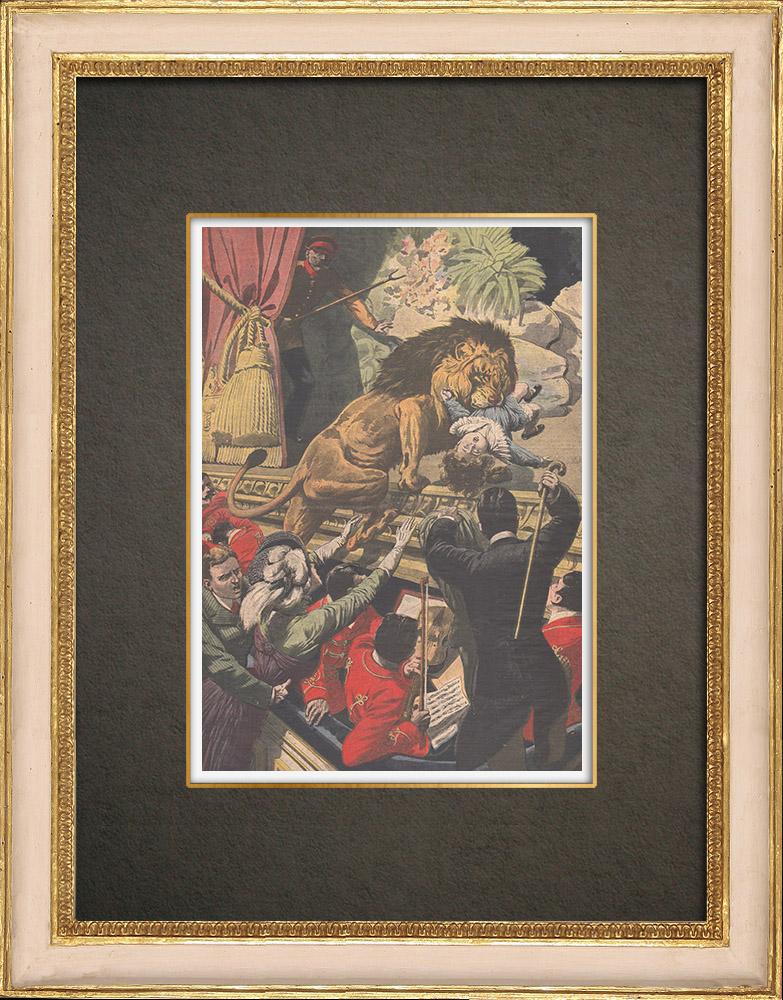 Stampe Antiche & Disegni | Un leone rapisce un bambino in un teatro di Cleveland - Stati Uniti d'America - 1910 | Incisione xilografica | 1910