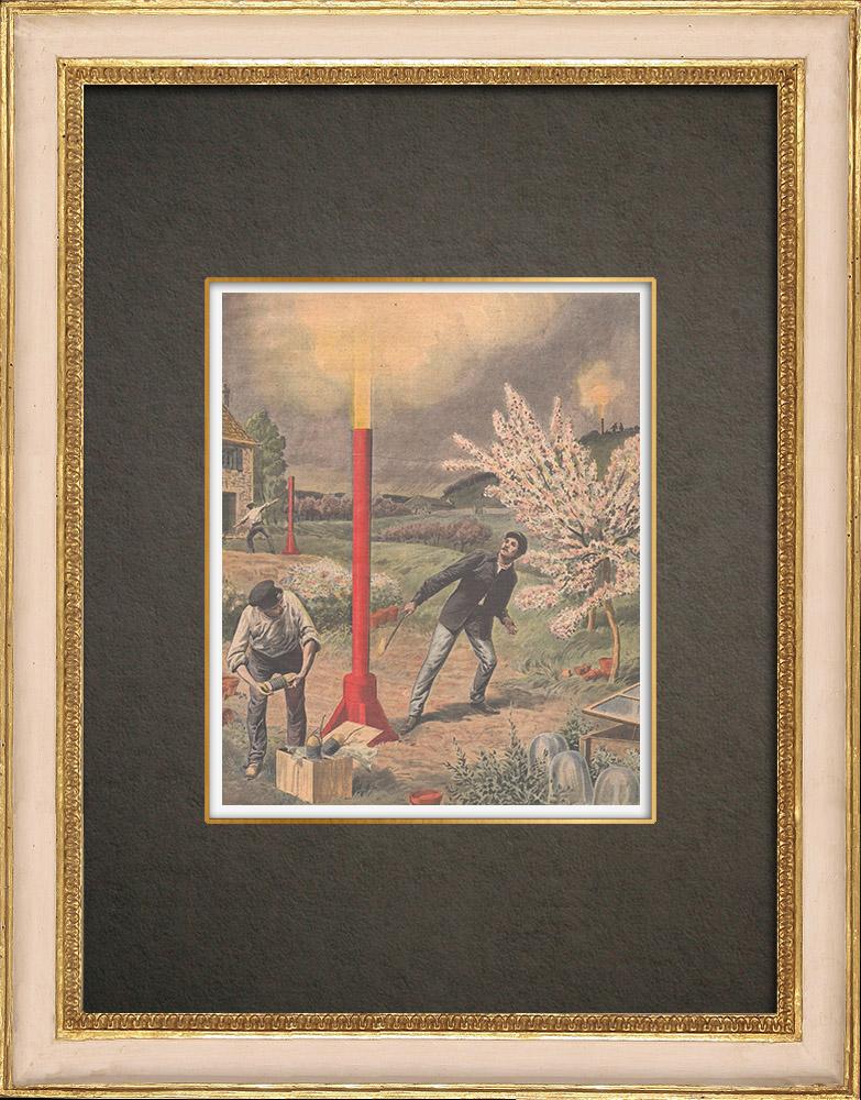Stampe Antiche & Disegni | Uso delle cannone antigrandine a Bagnolet - Francia - 1910 | Incisione xilografica | 1910