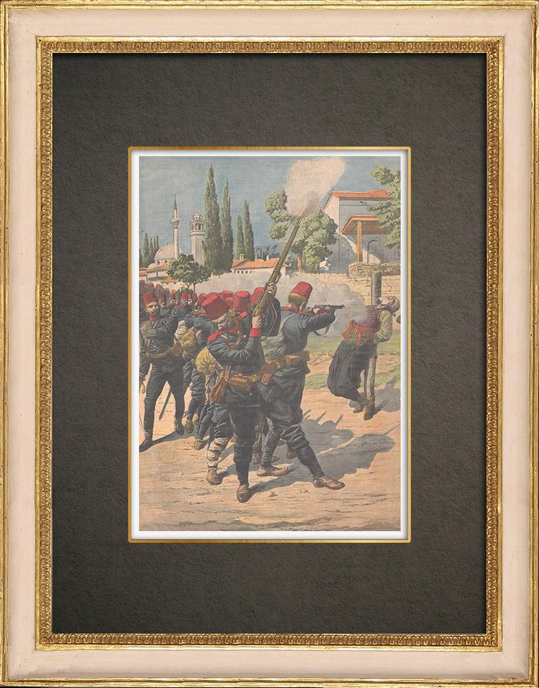 Antika Tryck & Ritningar | Avrättning av fångar under upproret i Albanien - 1910 | Träsnitt | 1910