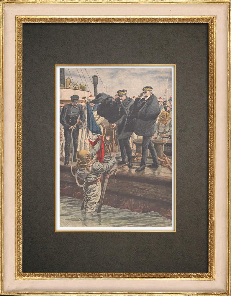 Stampe Antiche & Disegni | Disastro del sottomarino Pluviose - Calais - Francia - 1910 | Incisione xilografica | 1910