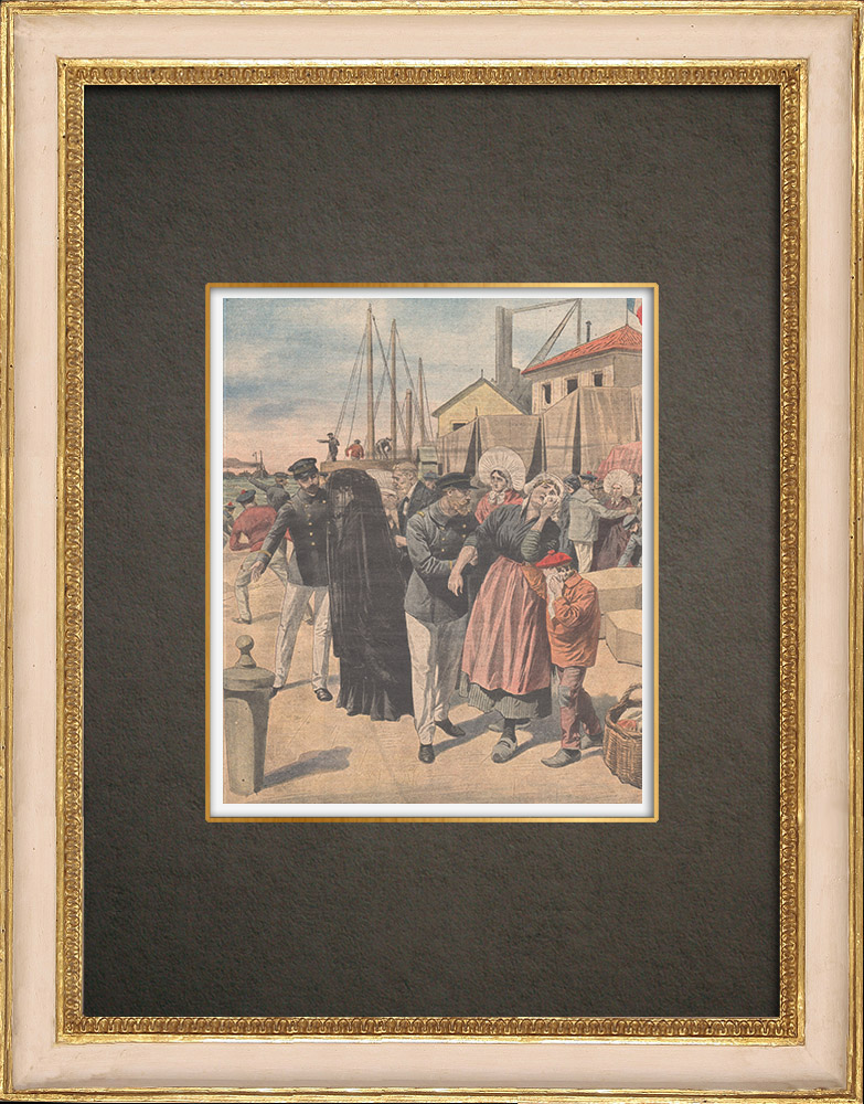 Stampe Antiche & Disegni | Arrivo del relitto del sottomarino Pluviose nel porto di Calais - Francia - 1910 | Incisione xilografica | 1910
