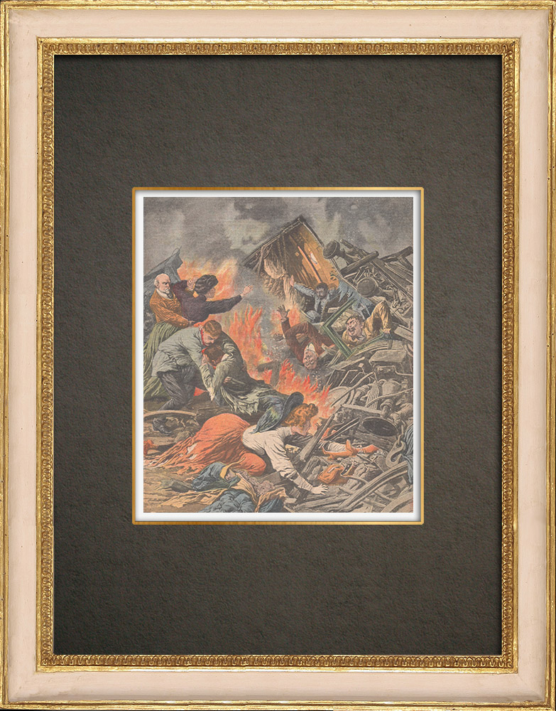 Stampe Antiche & Disegni | Incidente ferroviario a Villepreux - Francia - 1910 | Incisione xilografica | 1910