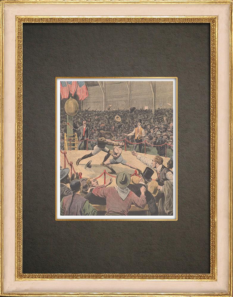 Stampe Antiche & Disegni | Jack Johnson è campione del mondo di boxe a Reno - Stati Uniti d'America - 1910 | Incisione xilografica | 1910