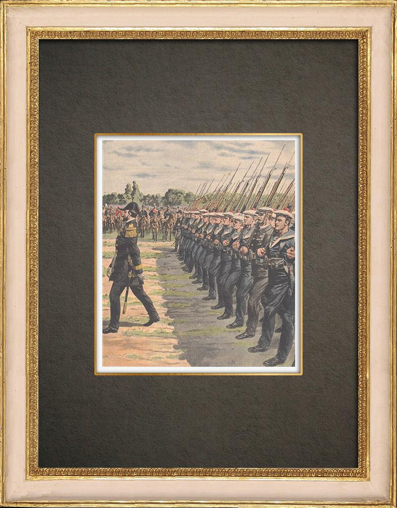 Stampe Antiche & Disegni | Festa nazionale francese - Rivista militare degli Fusiliers marins - Parigi - 1910 | Incisione xilografica | 1910