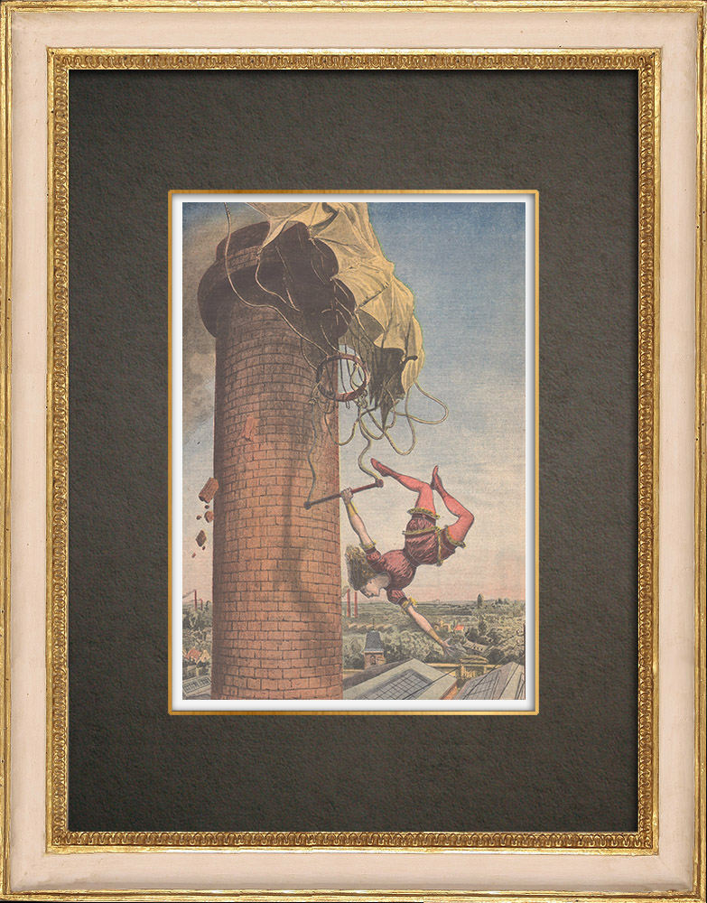 Antika Tryck & Ritningar | Olycka vid fallskärmar i Coventry - England - 1910 | Träsnitt | 1910