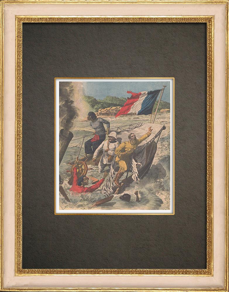 Antique Prints & Drawings | Shipwreck in the Mekong rapids - Laos - 1910 | Wood engraving | 1910