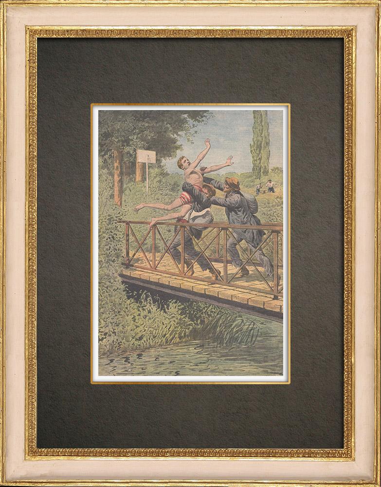 Antika Tryck & Ritningar | Två flackander kastar ett barn i Orne - Frankrike - 1910 | Träsnitt | 1910