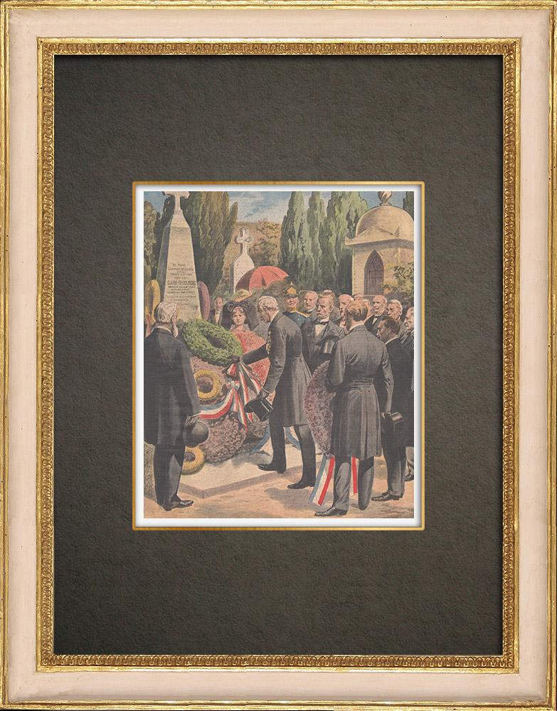 Grabados & Dibujos Antiguos | Homenaje a los soldados muertos en la guerra franco-prusiana de 1870 - Alsacia - Francia - 1910 | Grabado xilográfico | 1910