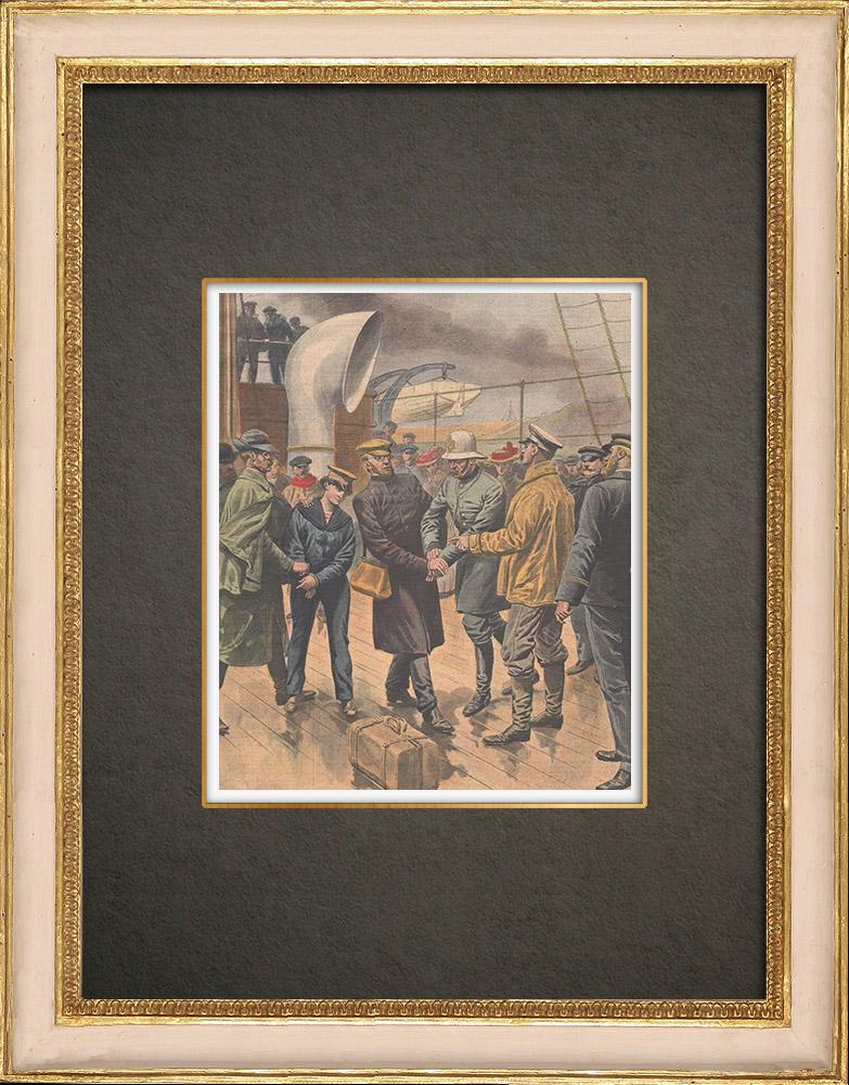Antika Tryck & Ritningar | Arrestering av en mördare i Pointe-au-Père - Kanada - 1910 | Träsnitt | 1910