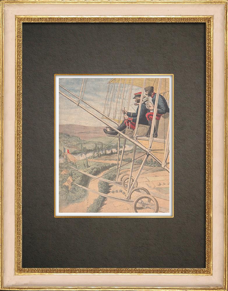 Stampe Antiche & Disegni | Esercitazione militare di un aviatore vicino alla frontiera tedesca a Moncel-sur-Seille - Francia - 1910 | Incisione xilografica | 1910