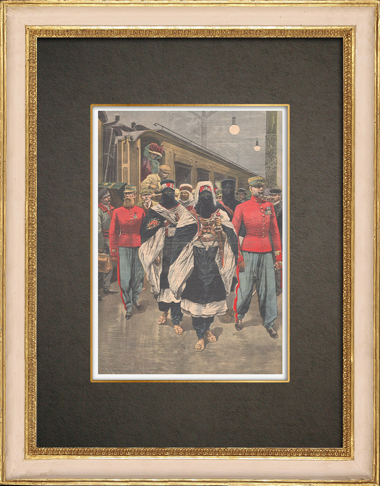 Antique Print & Etching   Ankunft der Moussa ag Amastan in Paris - 1910   Holzstich   1910